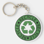 Recycle Green Logo BK Letters Basic Round Button Keychain