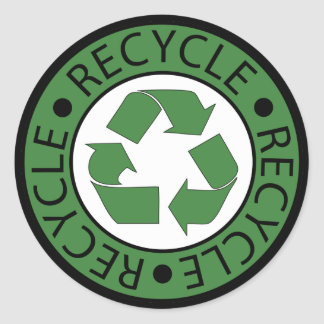 Recycle Green Logo BK Letters Classic Round Sticker