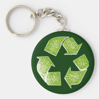 recycle green sign keychain