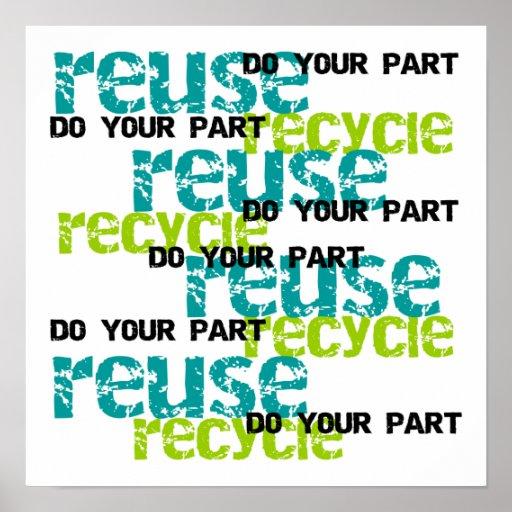 Recycle hace sus camisetas y regalos de la parte póster