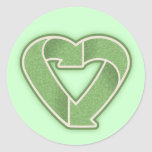 Recycle Heart -green Round Stickers