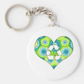 Recycle Heart Tie Dye Keychain