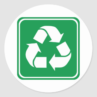 Recycle Highway Sign Classic Round Sticker