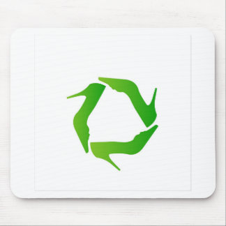 recycle icon made with shoes mouse pad