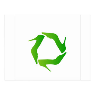 recycle icon made with shoes postcard