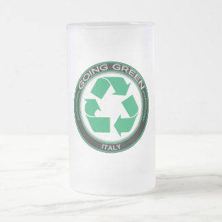 Recycle Italy 16 Oz Frosted Glass Beer Mug
