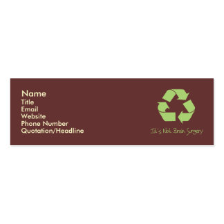 Recycle it's easy Contact Profile Card Double-Sided Mini Business Cards (Pack Of 20)