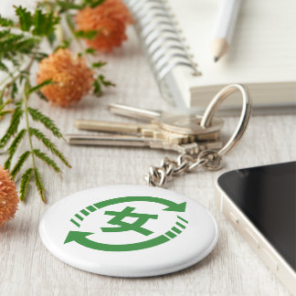 Recycle Japanese Girls | Kanji Nihongo Sign Keychain