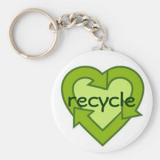 Recycle Keychain-green Basic Round Button Keychain