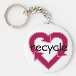Recycle Keychain- pink Basic Round Button Keychain
