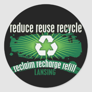 Recycle Lansing Classic Round Sticker