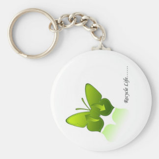 Recycle Life! Basic Round Button Keychain