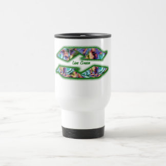 recycle live green 15 oz stainless steel travel mug