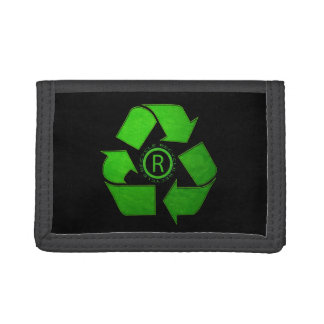 Recycle Logo by Shirley Taylor Tri-fold Wallets