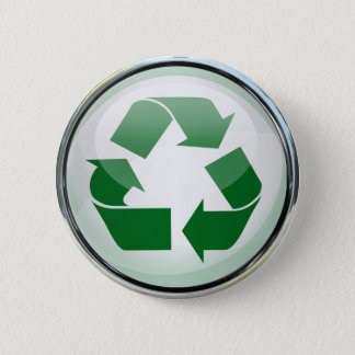 Recycle Logo in Glass & Chrome Button