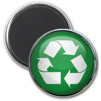 Recycle Logo in Glass & Chrome Refrigerator Magnet