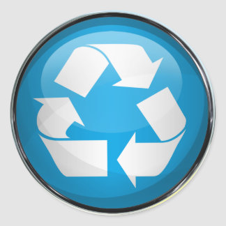 Recycle Logo in Glass (set of 6/20) Classic Round Sticker