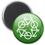 Recycle Logo w/ Bicycles 2 Inch Round Magnet