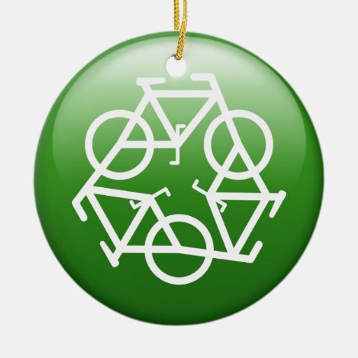 Recycle Logo w/ Bicycles Double-Sided Ceramic Round Christmas Ornament