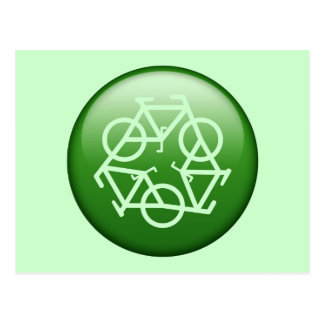 Recycle Logo w/ Bicycles Postcard