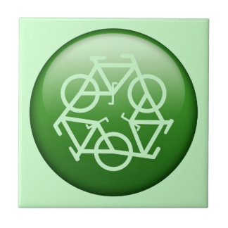 Recycle Logo w Bicycles Tile