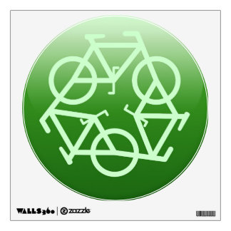Recycle Logo w/ Bicycles Wall Decal