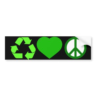 Recycle Love and Peace bumpersticker