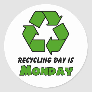 Recycle Monday Classic Round Sticker