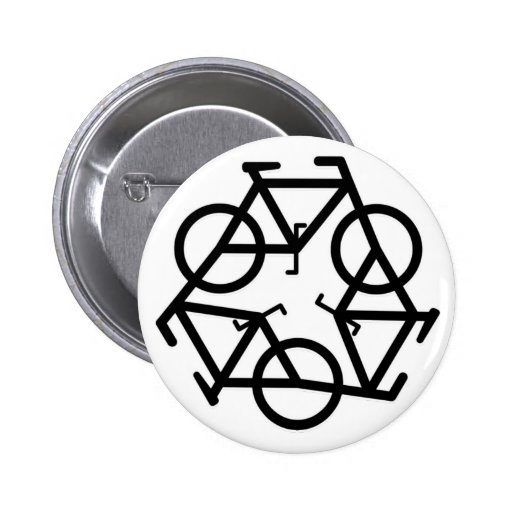 recycle motion of bike and life pinback buttons