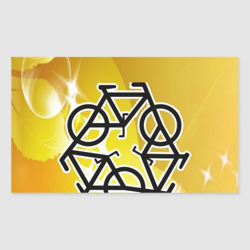 recycle motion of bike and life rectangular sticker