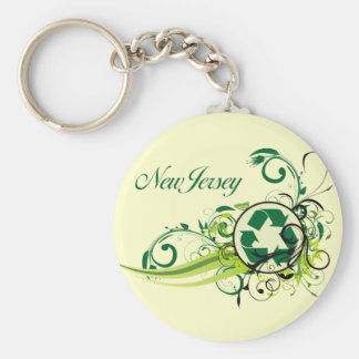 Recycle New Jersey Basic Round Button Keychain