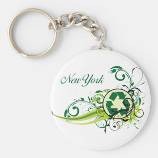 Recycle New York Basic Round Button Keychain