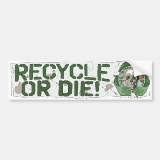 Recycle or Die Skull Bumper Sticker