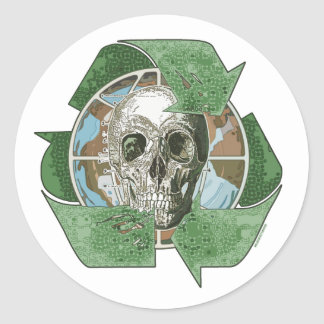 Recycle or Die Skull Classic Round Sticker