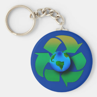RECYCLE OUR PLANET Keychain, Zipper-Pull, ID Tag Basic Round Button Keychain