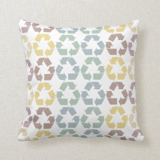 Recycle Pattern Throw Pillow in Earthy Pastels