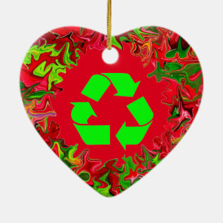 recycle peace Christmas Ceramic Ornament