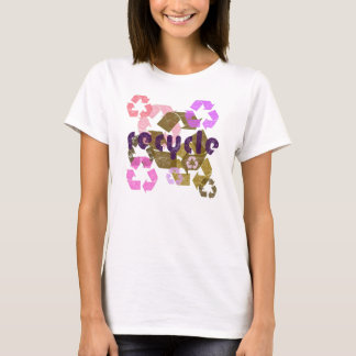 Recycle Pink & Brown Distressed Womens Shirt
