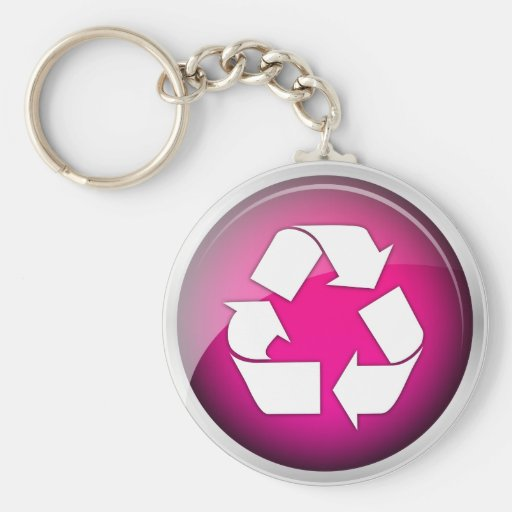 Recycle Pink Icon Basic Round Button Keychain