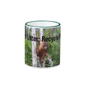 Recycle Plastic Don't Litter Ringer Coffee Mug