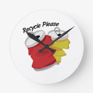 Recycle Please Round Wall Clocks
