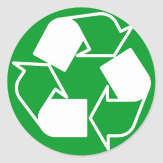 recycle please classic round sticker