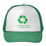 recycle recycling save the world green cap hat