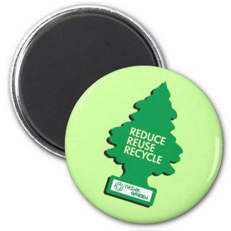 Recycle Reduce Green dark 2 Inch Round Magnet