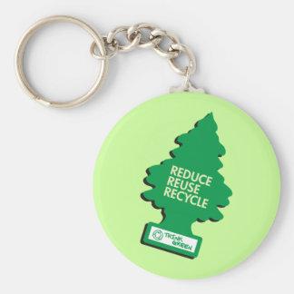 Recycle Reduce Green dark Basic Round Button Keychain