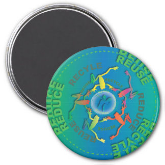 Recycle Reduce Reuse 3 Inch Round Magnet
