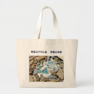 Recycle Reuse canvas Tote Bags Ocean Sea Glass