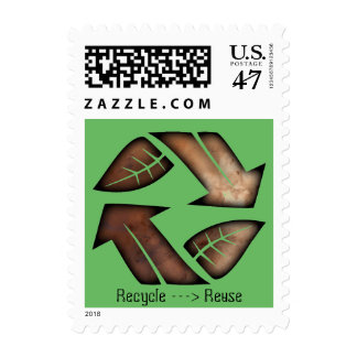 Recycle Reuse Earth Day postage stamp