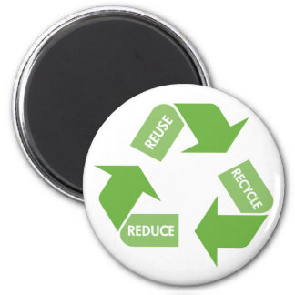 Recycle Reuse Reduce 2 Inch Round Magnet
