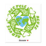 Recycle, Reuse, Reduce green Earth heart Sticker